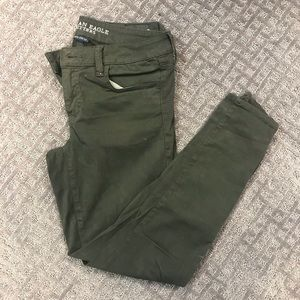 AEO Sateen Army Green Jeggings